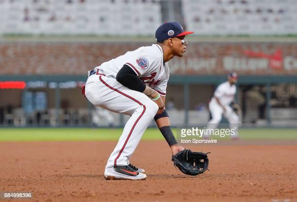 Atlanta Braves third baseman Johan Camargo gets set during a game between the Atlanta Braves and Toronto Blue Jays on May 18 2017 at SunTrust Park in...