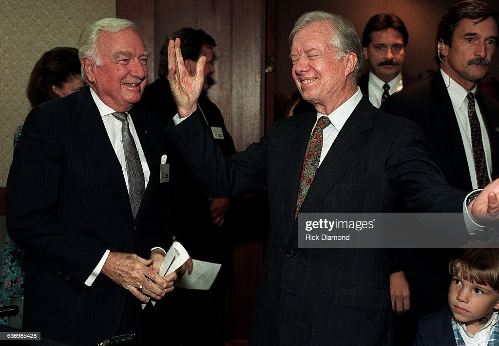 Anchor Walter Cronkite attends Former President Jimmy Carter surprise 70th. birthday party at The Carter Presidential Center in Atlanta Georgia October, 1994