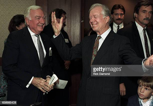 CBS NEWS Anchor Walter Cronkite attends Former President Jimmy Carter surprise 70th birthday party at The Carter Presidential Center in Atlanta...