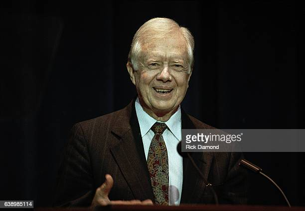 Former President Jimmy Carter attends his surprise 70th birthday party at The Carter Presidential Center in Atlanta Georgia October 1994