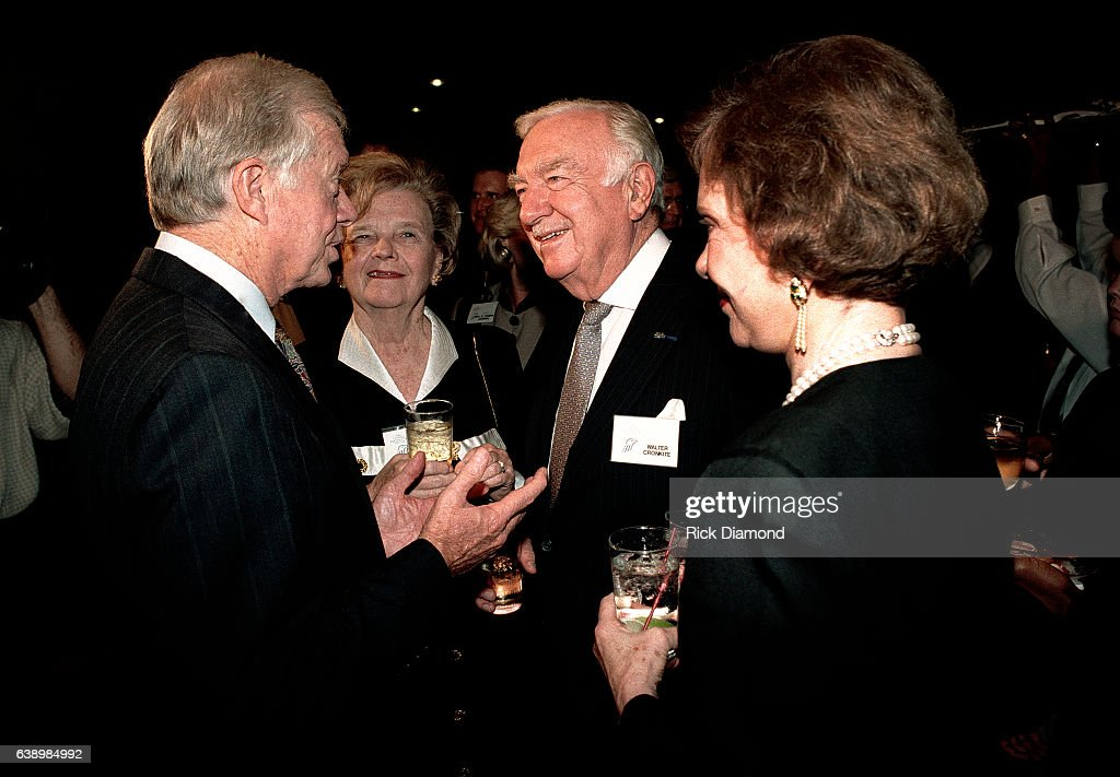 Mary Elizabeth Maxwell Cronkite, Former CBS News Anchor Walter Cronkite, Former President Jimmy Carter and Former First Lady Rosalynn Carter attend Former President Jimmy Carter surprise 70th. birthday party at The Carter Presidential Center in Atlanta Georgia October, 1994