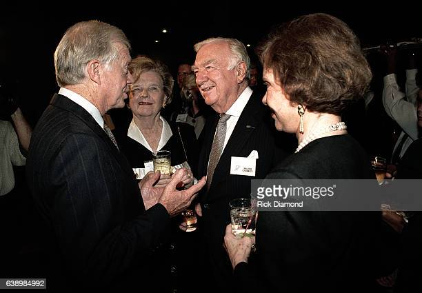 Mary Elizabeth Maxwell Cronkite Former CBS News Anchor Walter Cronkite Former President Jimmy Carter and Former First Lady Rosalynn Carter attend...