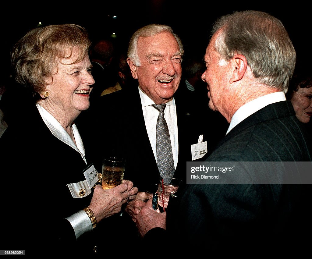Mary Elizabeth Maxwell Cronkite, Former CBS News Anchor Walter Cronkite and Former President Jimmy Carter attend Former President Jimmy Carter surprise 70th. birthday party at The Carter Presidential Center in Atlanta Georgia October, 1994