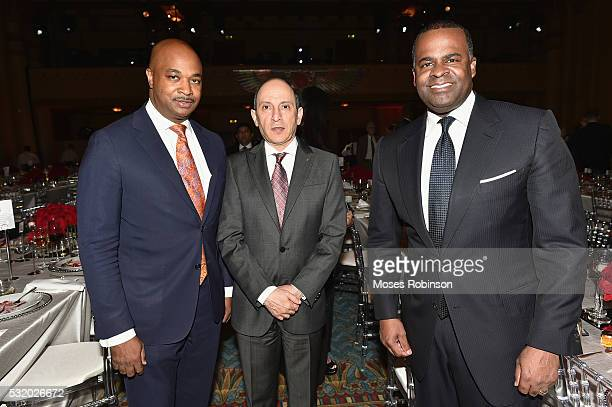 Atlanta City Councilman Kwanza Hall Group Chief Executive Qtar Airways HE Akbar Al Baker and Atlanta Mayor Kasim Reed attend at Qatar Airways Gala at...
