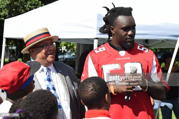 Atlanta City Councilmen Ivory Lee Young Jr and Atlanta Falcon Linebacker De'Vondre Campbell attend 'Nickelodeon's Worldwide Day Of Play And Laureus...