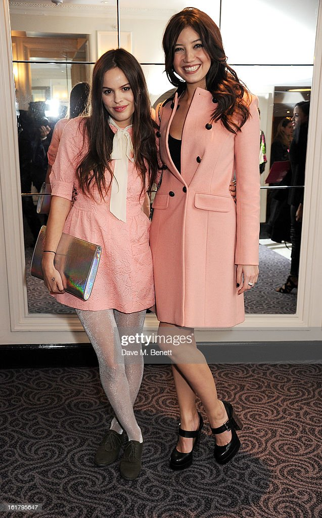 Atlanta de Cadenet (L) and <a gi-track='captionPersonalityLinkClicked' href=/galleries/search?phrase=Daisy+Lowe&family=editorial&specificpeople=787647 ng-click='$event.stopPropagation()'>Daisy Lowe</a> attend the Moschino cheap&chic show during London Fashion Week Fall/Winter 2013/14 at The Savoy Hotel on February 16, 2013 in London, England.