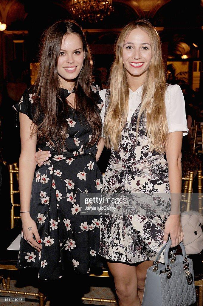 Atlanta De Cadenet (L) and Harley Viera Newton attend the Zac Posen Fall 2013 fashion show during Mercedes-Benz Fashion Week on February 10, 2013 in New York City.