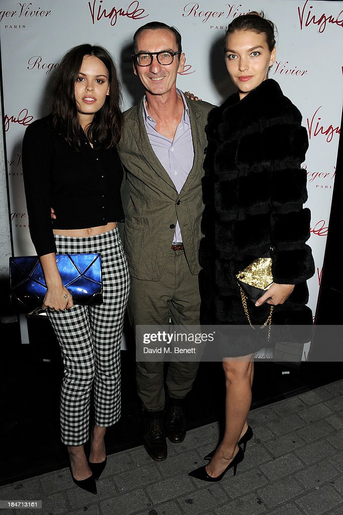 <a gi-track='captionPersonalityLinkClicked' href=/galleries/search?phrase=Atlanta+de+Cadenet&family=editorial&specificpeople=6139695 ng-click='$event.stopPropagation()'>Atlanta de Cadenet</a>, Bruno Frisoni and <a gi-track='captionPersonalityLinkClicked' href=/galleries/search?phrase=Arizona+Muse&family=editorial&specificpeople=7109685 ng-click='$event.stopPropagation()'>Arizona Muse</a> attend the Roger Vivier Virgule London launch party hosted by <a gi-track='captionPersonalityLinkClicked' href=/galleries/search?phrase=Atlanta+de+Cadenet&family=editorial&specificpeople=6139695 ng-click='$event.stopPropagation()'>Atlanta de Cadenet</a>, Ines de la Fressange and Bruno Frisoni, Creative Director of Roger Vivier, at Le Baron on October 15, 2013 in London, England.