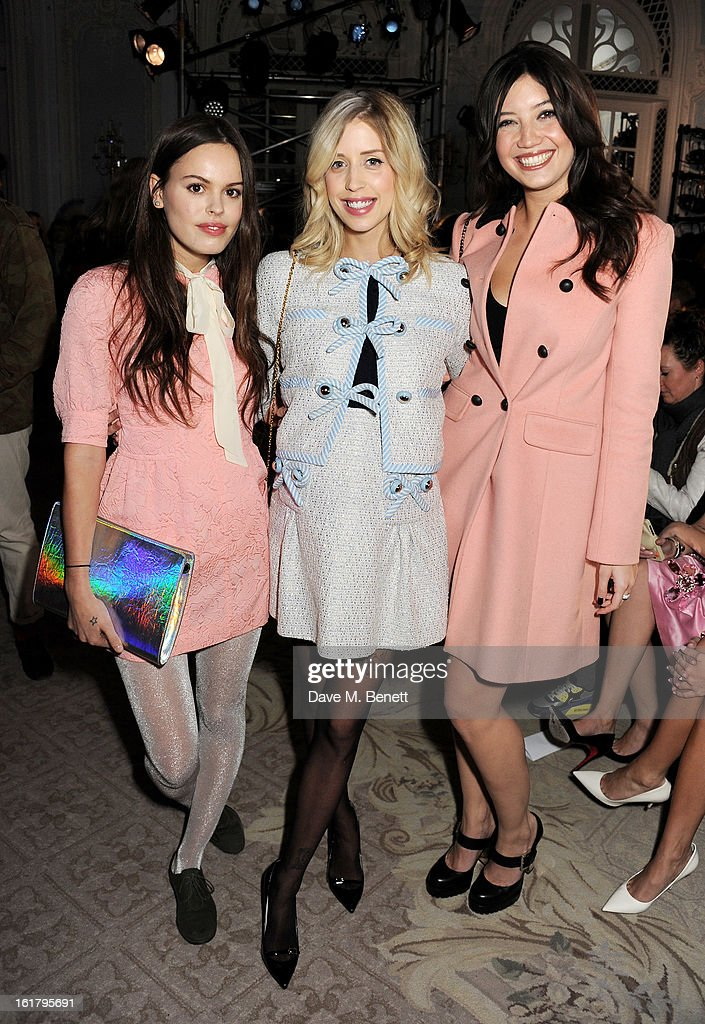 Atlanta de Cadenet, <a gi-track='captionPersonalityLinkClicked' href=/galleries/search?phrase=Peaches+Geldof&family=editorial&specificpeople=211378 ng-click='$event.stopPropagation()'>Peaches Geldof</a> and <a gi-track='captionPersonalityLinkClicked' href=/galleries/search?phrase=Daisy+Lowe&family=editorial&specificpeople=787647 ng-click='$event.stopPropagation()'>Daisy Lowe</a> attend the Moschino cheap&chic show during London Fashion Week Fall/Winter 2013/14 at The Savoy Hotel on February 16, 2013 in London, England.