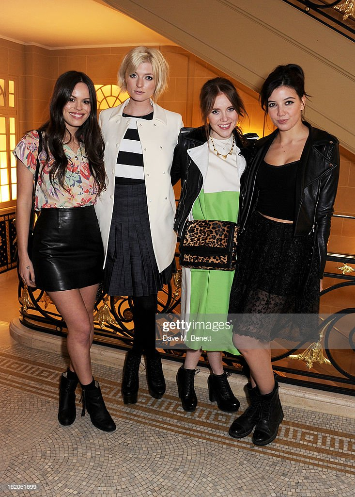 (L to R) Atlanta de Cadenet, Sophie Sumner, Angela Scanlon and Daisy Lowe attend the AnOther Magazine and Dazed & Confused party with Belvedere Vodka at the Cafe Royal hotel on February 18, 2013 in London, England.
