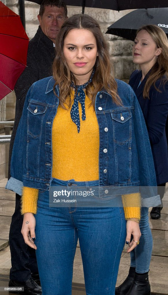 Atlanta de Cadenet Taylor arriving at the Topshop Unique Autumn/ Winter 2015 fashion show during London Fashion Week
