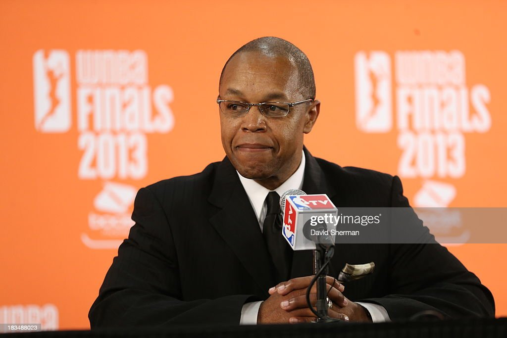 Atlanta Dream Head Coach Fred Williams addresses the media after the Game 1 of the 2013 WNBA Finals against the Minnesota Lynx on October 6, 2013 at Target Center in Minneapolis, Minnesota.