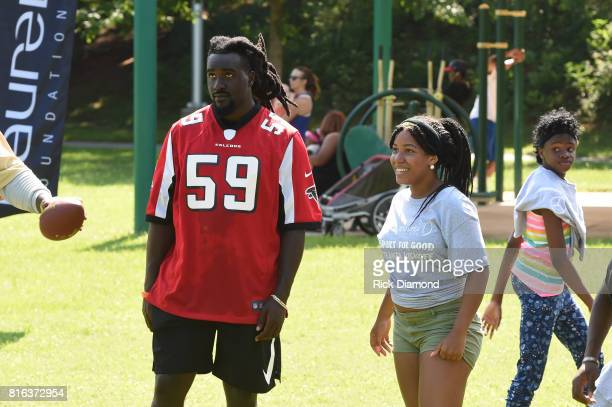 Atlanta Falcon Linebacker De'Vondre Campbell and guest play at 'Nickelodeon's Worldwide Day Of Play And Laureus Sport For Good In Atlanta' at...