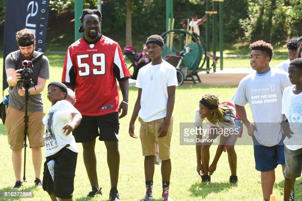 Atlanta Falcon Linebacker De'Vondre Campbell and guests play at 'Nickelodeon's Worldwide Day Of Play And Laureus Sport For Good In Atlanta' at...