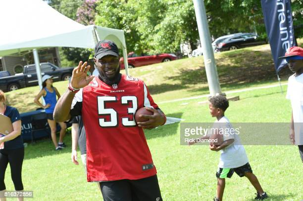 Atlanta Falcon Linebacker LaRoy Reynolds attends 'Nickelodeon's Worldwide Day Of Play And Laureus Sport For Good In Atlanta' at Washington Park on...