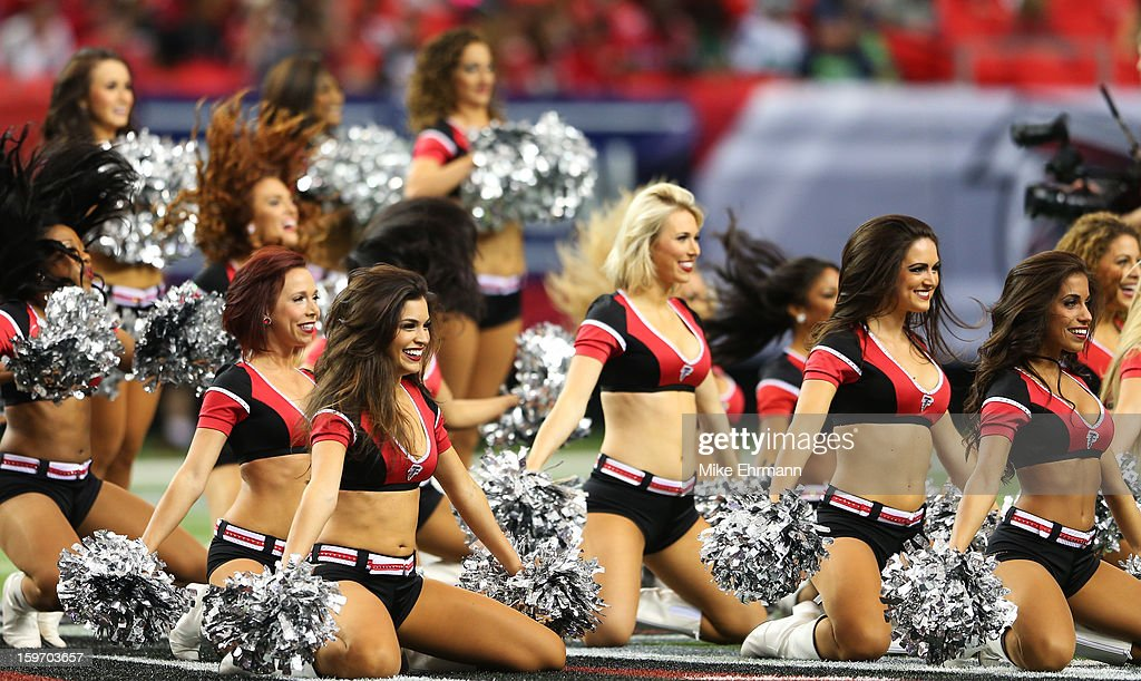 Atlanta Falcons cheerleaders perform during their game against the Seattle Seahawks in the NFC Divisional Playoffs at Georgia Dome on January 13, 2013 in Atlanta, Georgia.