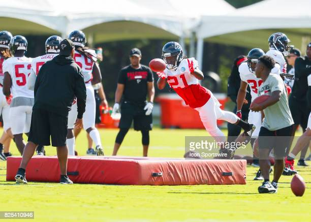 Atlanta Falcons cornerback Desmond Trufant takes part of a drill on August 01 2017 during the Atlanta Falcons Training Camp in Flowery Branch Ga
