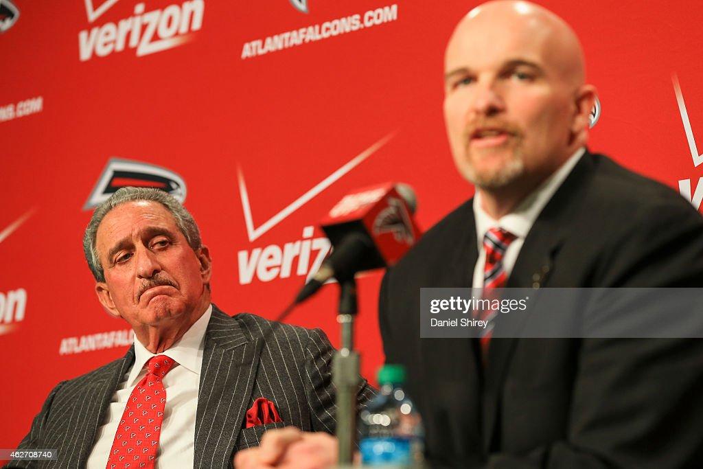 Atlanta Falcons head coach Dan Quinn and team owner Arthur Blank speak to the media during a press conference at the Atlanta Falcons Training...
