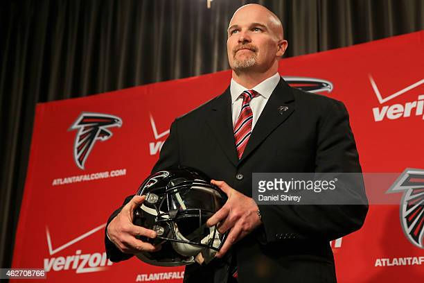 Atlanta Falcons head coach Dan Quinn poses for a photo during a press conference at the Atlanta Falcons Training Facility on February 3 2015 in...