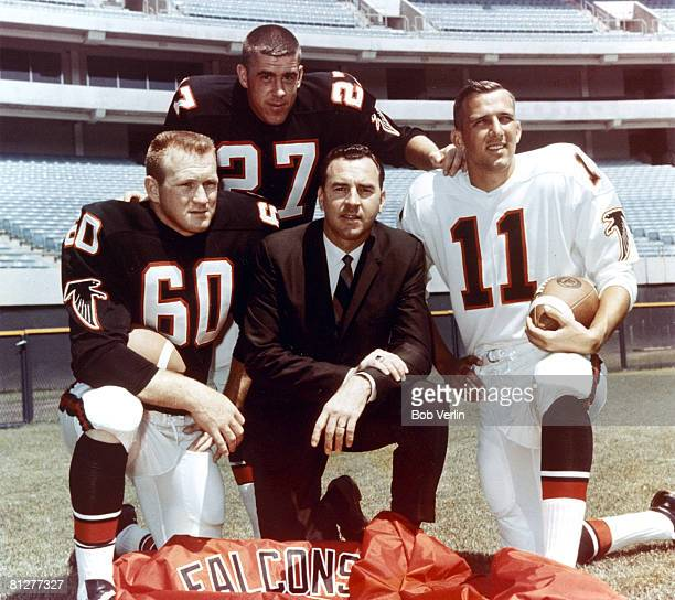 Atlanta Falcons linebacker Tommy Nobis safety Nick Rassas head coach Norb Hecker and quarterback Randy Johnson circa 1966