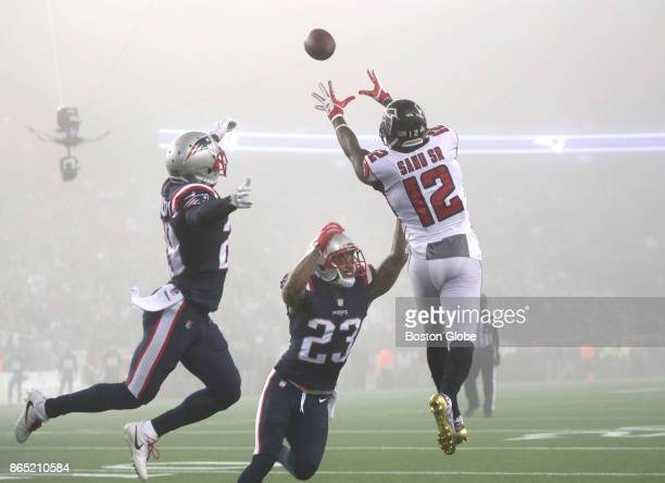 Atlanta Falcons Mohamed Sanu makes a catch during the third quarter The New England Patriots hosted the Atlanta Falcons in an NFL regular season...