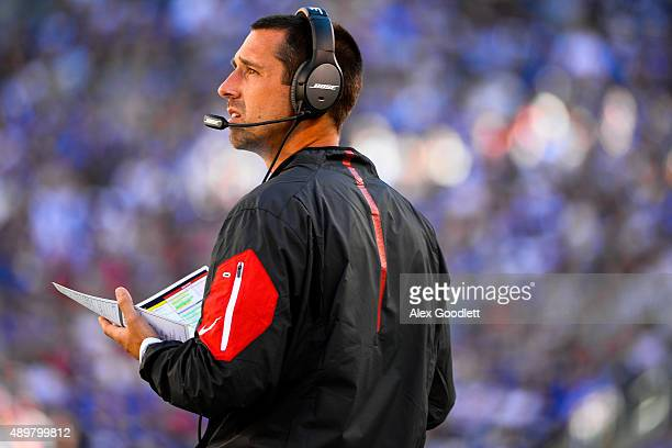 Atlanta Falcons offensive coordinator Kyle Shanahan looks on during a game against the New York Giants at MetLife Stadium on September 20 2015 in...