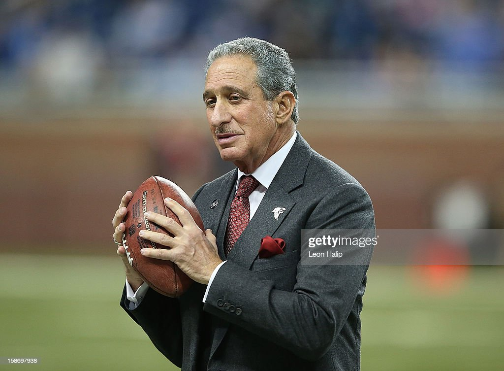 Atlanta Falcons Owner and Chairman Arthur Blank watches the action prior to the start of the game against the Detroit Lions at Ford Field on December...