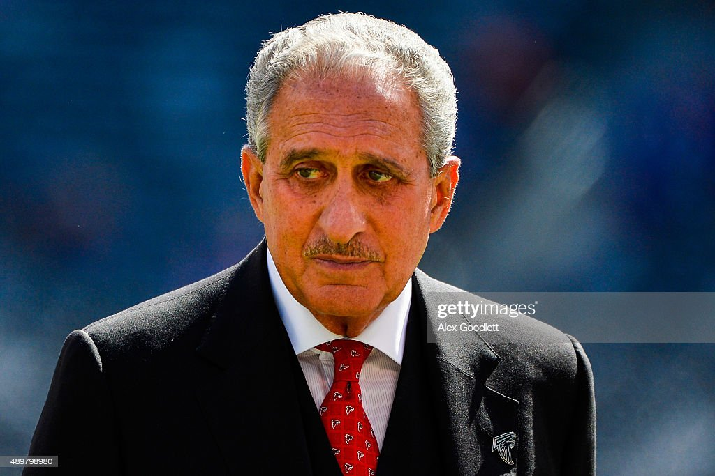 Atlanta Falcons owner Arthur Blank looks on before a game against the New York Giants at MetLife Stadium on September 20 2015 in East Rutherford New...