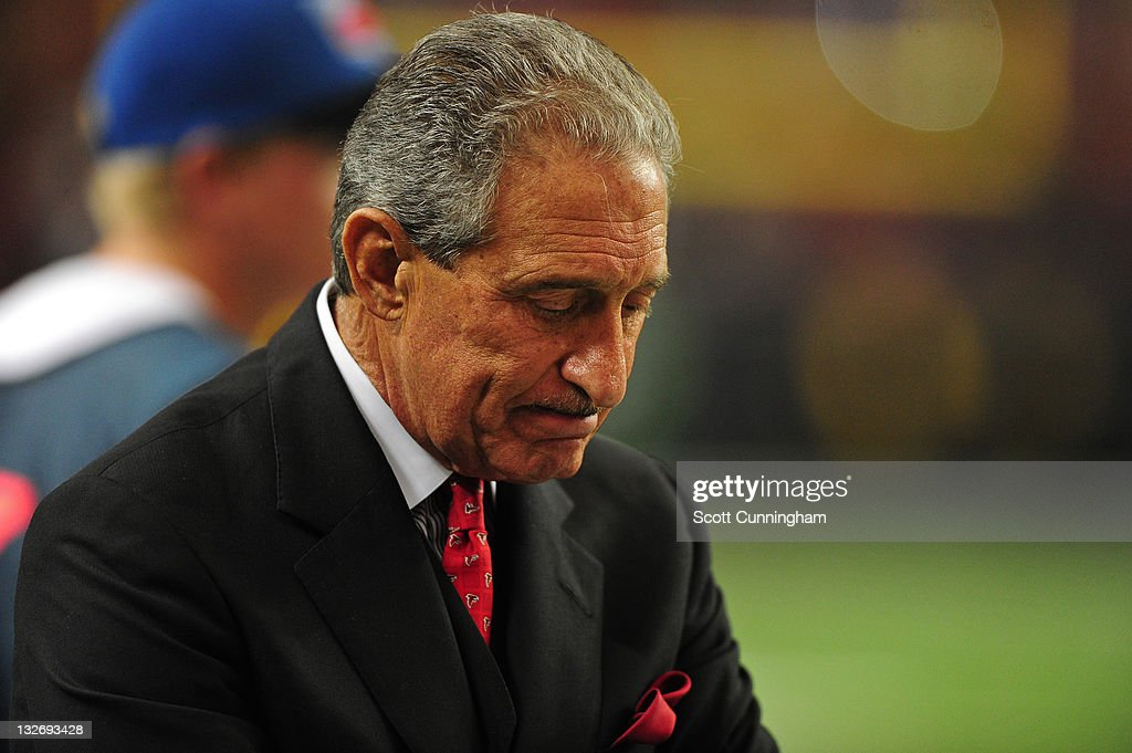 Atlanta Falcons Owner <a gi-track='captionPersonalityLinkClicked' href=/galleries/search?phrase=Arthur+Blank&family=editorial&specificpeople=1278336 ng-click='$event.stopPropagation()'>Arthur Blank</a> reacts after a play against the New Orleans Saints at the Georgia Dome on November 13, 2011 in Atlanta, Georgia.