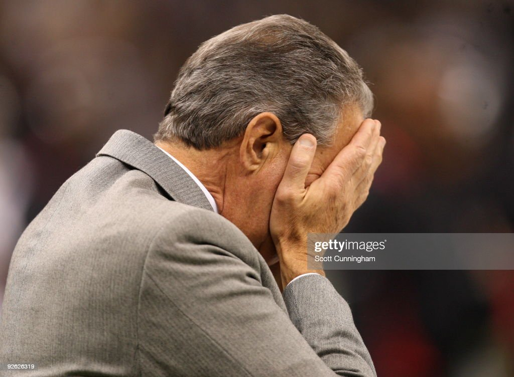Atlanta Falcons Owner <a gi-track='captionPersonalityLinkClicked' href=/galleries/search?phrase=Arthur+Blank&family=editorial&specificpeople=1278336 ng-click='$event.stopPropagation()'>Arthur Blank</a> reacts to a play against the New Orleans Saints at the Louisiana Superdome on November 2, 2009 in New Orleans, Louisiana. The Saints defeated the Falcons 35-27.