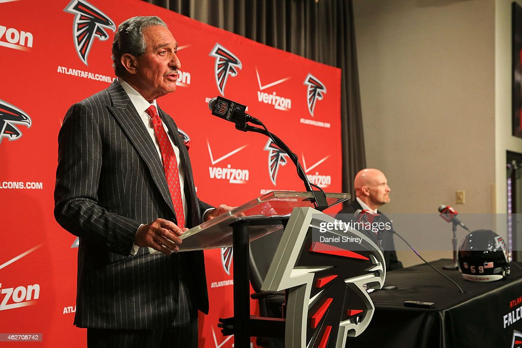 Atlanta Falcons owner, <a gi-track='captionPersonalityLinkClicked' href=/galleries/search?phrase=Arthur+Blank&family=editorial&specificpeople=1278336 ng-click='$event.stopPropagation()'>Arthur Blank</a>, speaks to the media on behalf of new head coach, <a gi-track='captionPersonalityLinkClicked' href=/galleries/search?phrase=Dan+Quinn+-+Coach&family=editorial&specificpeople=11312391 ng-click='$event.stopPropagation()'>Dan Quinn</a>, during a press conference at the Atlanta Falcons Training Facility on February 3, 2015 in Flowery Branch, Georgia.