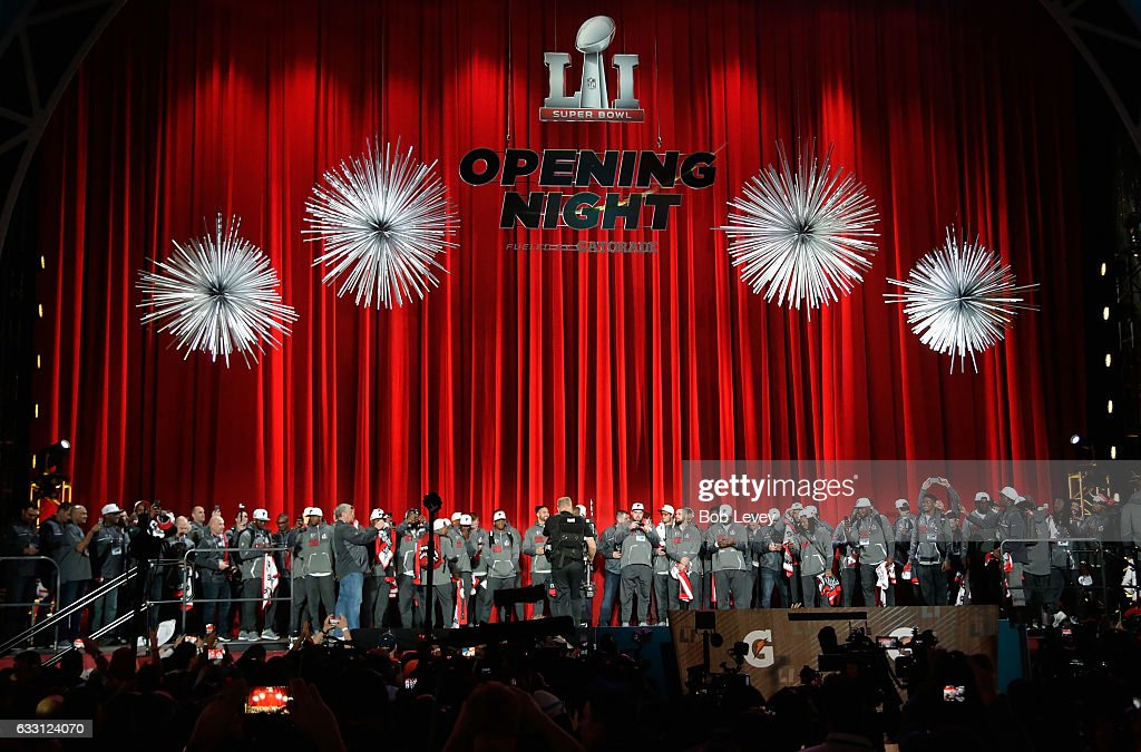 Atlanta Falcons players stand on stage during Super Bowl 51 Opening Night at Minute Maid Park on January 30, 2017 in Houston, Texas.
