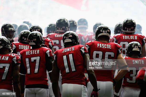 Atlanta Falcons prepare to enter the field during the NFL match between Detroit Lions and Atlanta Falcons at Wembley Stadium on October 26 2014 in...