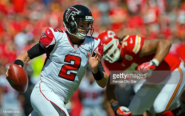 Atlanta Falcons quarterback Matt Ryan scrambles for a 5yard touchdown run in the third quarter against the Kansas City Chiefs at Arrowhead Stadium in...