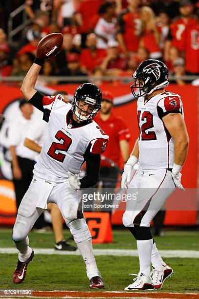 Atlanta Falcons quarterback Matt Ryan spikes the ball after throwing a touchdown to Atlanta Falcons fullback Patrick DiMarco in the 3rd quarter of...