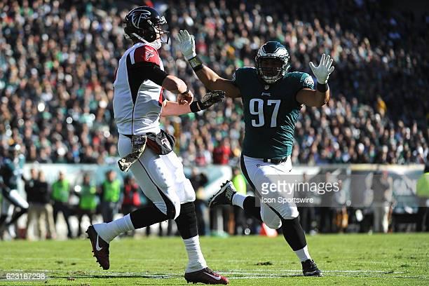 Atlanta Falcons Quarterback Matt Ryan under pressure by Philadelphia Eagles Defensive Tackle Destiny Vaeao during a National Football League game...