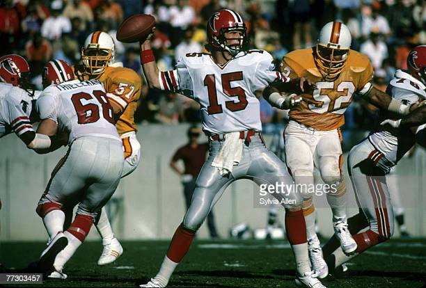 Atlanta Falcons quarterback Mike Moroski sets up to pass with Tampa Bay Buccaneers linebacker Scot Brantley applying pressure during a 236 Buccaneers...