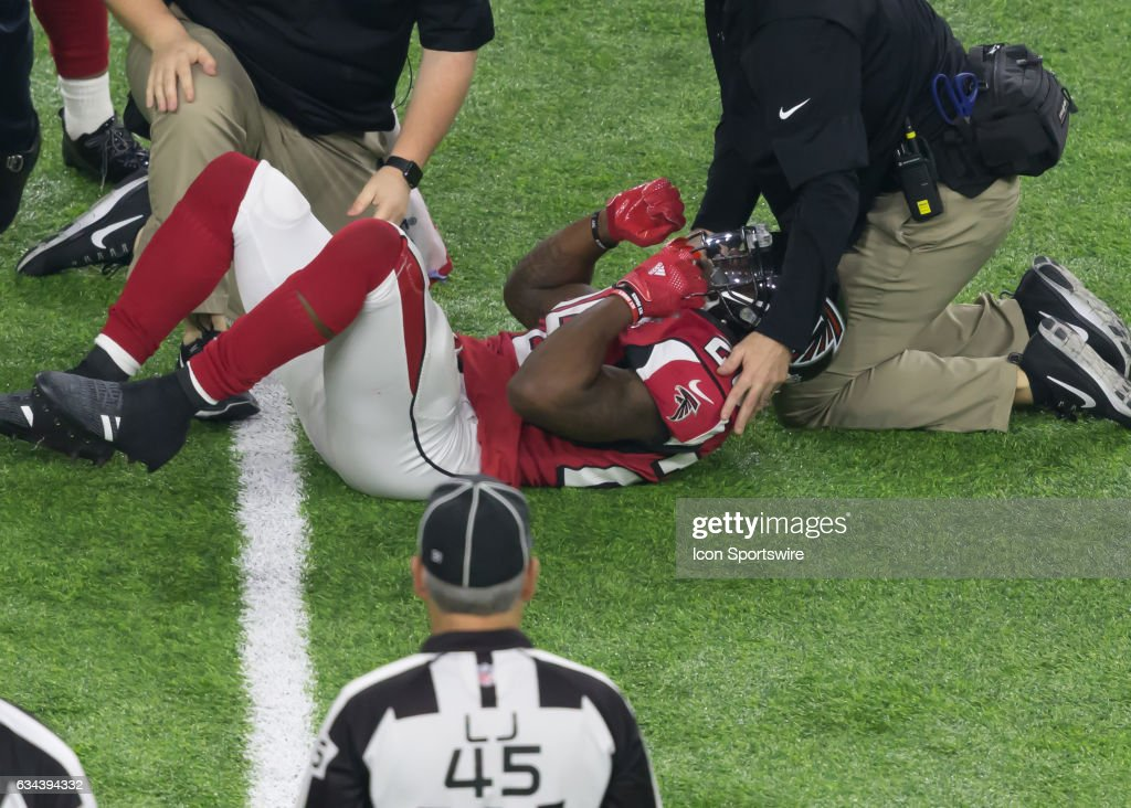 Atlanta Falcons running back Tevin Coleman (26) gets injured in the fourth quarter of the Super Bowl LI between the New England Patriots and Atlanta Falcon on February 5, 2017 at NRG Stadium in Houston, Texas. i