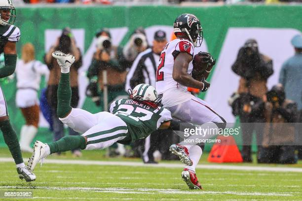 Atlanta Falcons wide receiver Mohamed Sanu during the National Football League game between the New York Jets and the Atlanta Falcons on October 29...