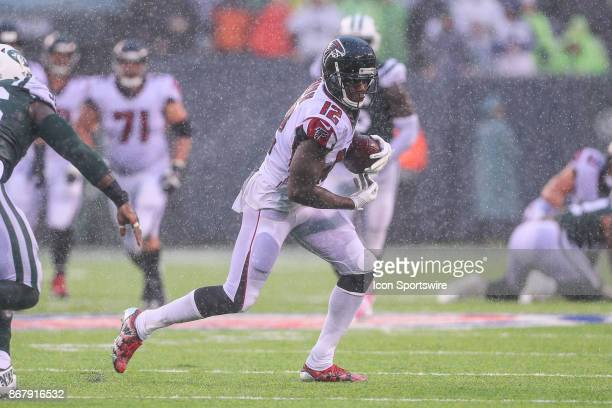 Atlanta Falcons wide receiver Mohamed Sanu makes a catch during the National Football League game between the New York Jets and the Atlanta Falcons...