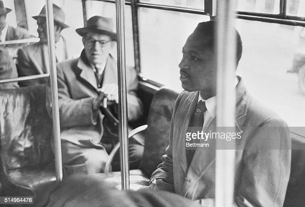 Test Bus Segregation Laws An unidentified white man refuses to leave the bus along with the other white passengers after Negroes boarded the bus in a...