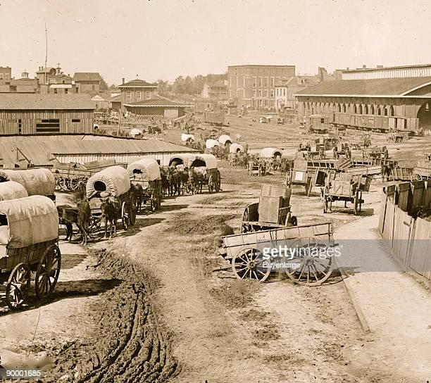 Atlanta Georgia Federal army wagons railroad depot