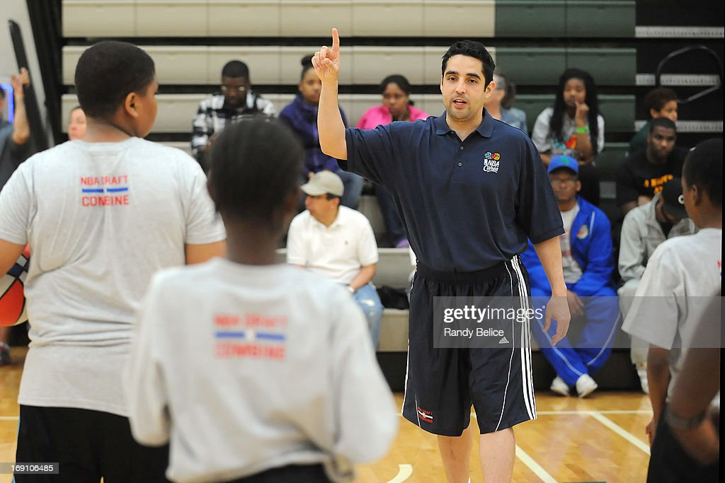 Atlanta Hawks Assistant Coach Kenny Atkinson directs participants during a NBA Cares Basketball Clinic as part of the 2013 NBA Draft Combine on May 18, 2013 at Quest Multiplex in Chicago, Illinois.