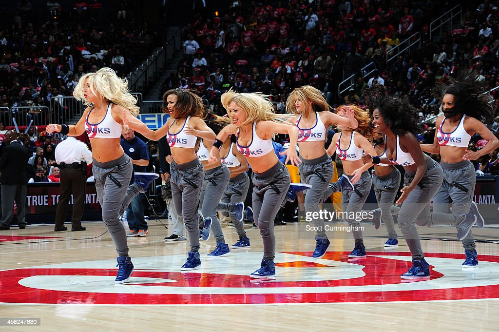 Atlanta Hawks dancers perform during the game on November 1 2014 at Philips arena in Atlanta Georgia NOTE TO USER User expressly acknowledges and...