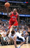 Atlanta Hawks guard Jamal Crawford runs into Orlando Magic forward Ryan Anderson during thirdquarter action in Game 2 of the NBA Eastern Conference...