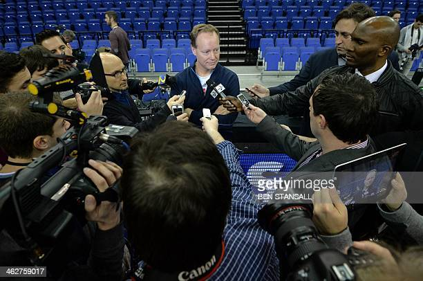 Atlanta Hawks' head coach Mike Budenholzer addresses the media after taking part in a training session in the 02 Arena in London on January 15 ahead...