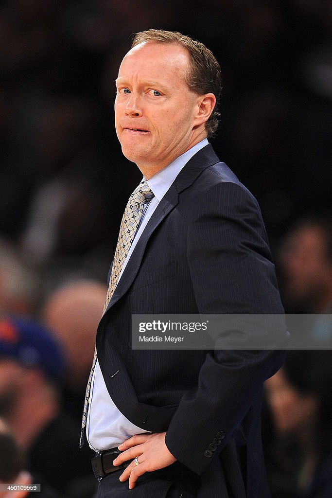 Atlanta Hawks head coach Mike Budenholzer looks on during the first quarter against the New York Knicks at Madison Square Garden on November 16, 2013 in New York City.