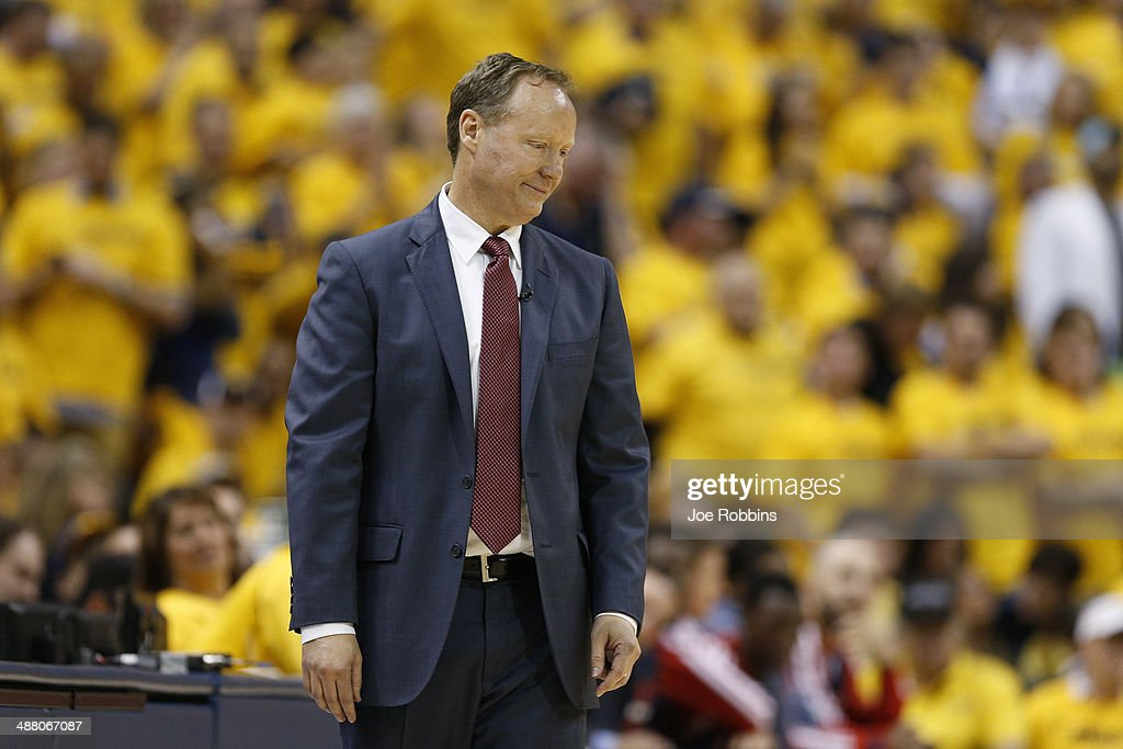 Atlanta Hawks head coach <a gi-track='captionPersonalityLinkClicked' href=/galleries/search?phrase=Mike+Budenholzer&family=editorial&specificpeople=2332367 ng-click='$event.stopPropagation()'>Mike Budenholzer</a> reacts against the Indiana Pacers during Game Seven of the Eastern Conference Quarterfinals of the 2014 NBA Playoffs on May 3, 2014 at Bankers Life Fieldhouse in Indianapolis, Indiana. The Pacers won 92-80.