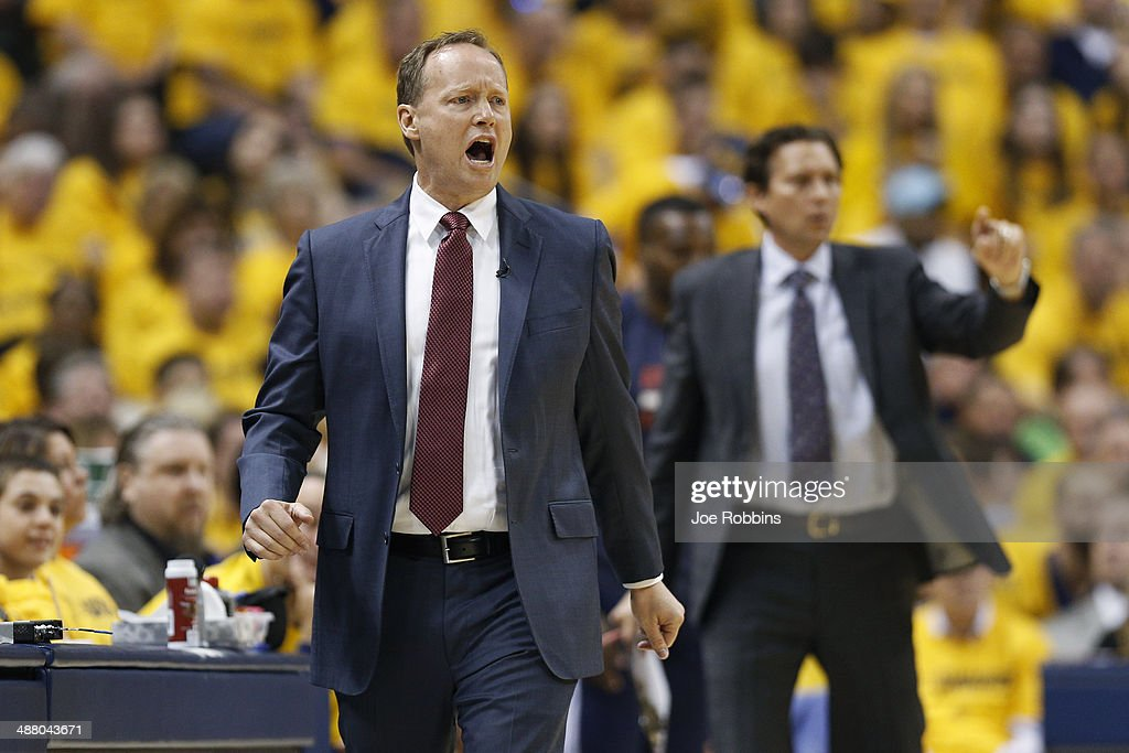 Atlanta Hawks head coach Mike Budenholzer shouts instructions to his team against the Indiana Pacers during Game Seven of the Eastern Conference...