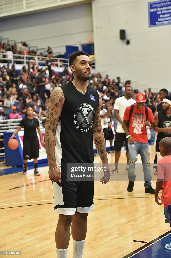 Atlanta Hawks player Mike Scott attend LudaDay Weekend Annual Celebrity Basketball Game at Georgia State University Sports Arena on September 6 2015...
